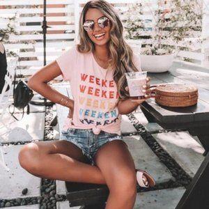 Mi Ami Blush Pink Weekend Tee T-shirt Rayon XS